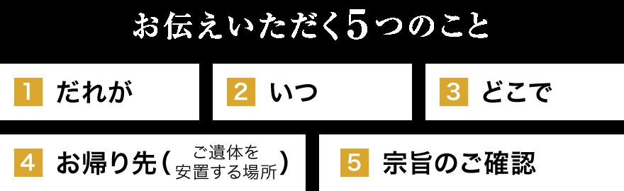 【お伝えいただく5つのこと】1.だれが 2.いつ 3.どこで 4.お帰り先(ご遺体を安置する場所) 5.宗旨のご確認